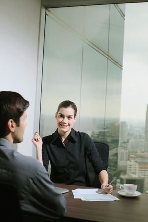 central european ethnicity: Businesswoman interviewing a candidate Stock Photo