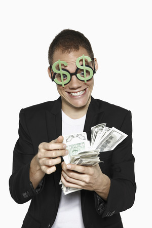 Man counting money photo