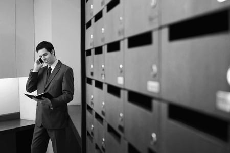 Businessman checking organizer while talking on the mobile phone photo