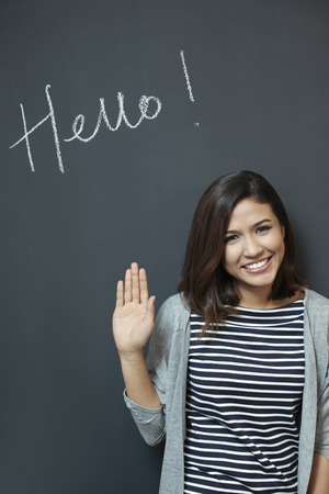 Woman saying Hello