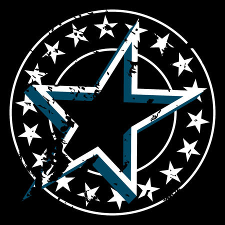 Vector round grunge badge with stars on border and star in center. Isolated on black background. Rough textured star label. Иллюстрация