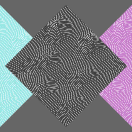 Abstract rhombuses and triangles symmetrically placed on gray background. Textured with wavy lines.