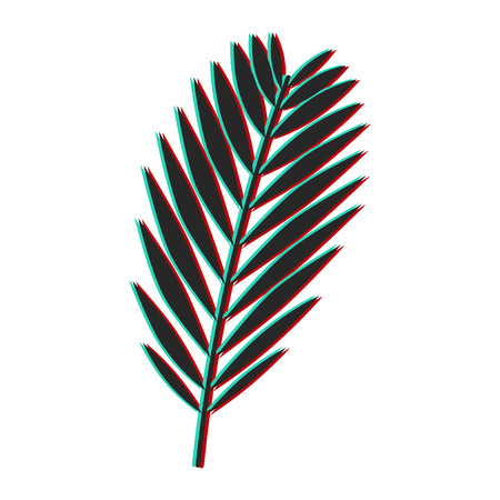 Palm leaf with glitch effect. Color channel distorted vector illustration of tropical exotic palm leaf. Ilustração