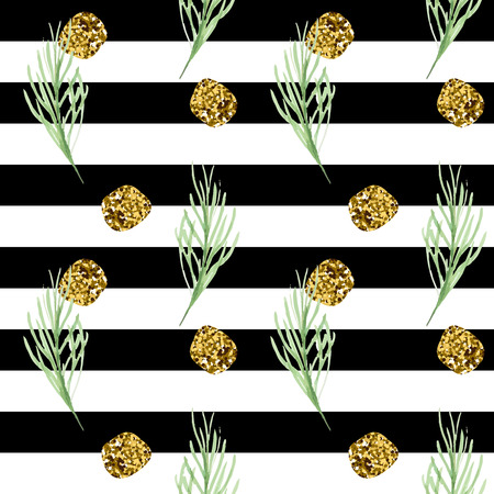 Vector stripe seamless pattern with golden glitter circles and green pine branch Illustration