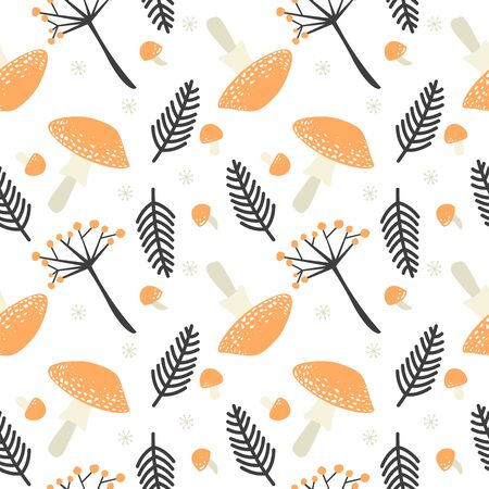 Fall season at forest in the form of vector repeatable decoration on white background. Autumn seamless pattern with orange poisonous mushrooms, brown fern leaves and berry branches.