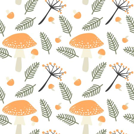 Vector seamless autumn pattern with orange poisonous mushrooms, fern leaves and berry branches. Fall season at forest in the form of repeatable decoration on a white background. Illusztráció