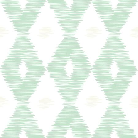 Scribble hand drawn imitation vector print. Seamless geometric rhombus pattern of pastel green and beige colors on white background. Иллюстрация