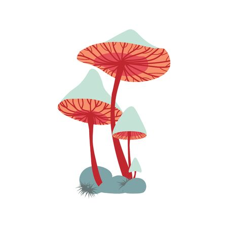 Vector composition of different sized colorful mushrooms on rock with moss.  イラスト・ベクター素材