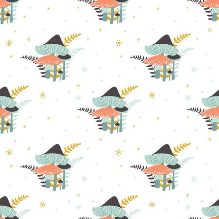 A cluster of mushrooms along with ferns. A simple illustration in muted colors. Vector seamless pattern with forest mushrooms: fly agaric, epaulet and ferns. Illusztráció