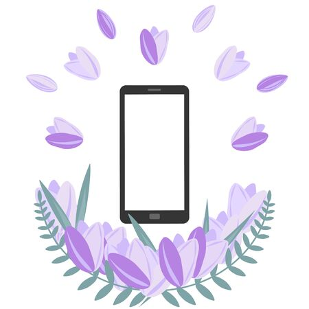 Smartphote with white isolated screen with decorative border of purple tulips with green leaves below. Spring mood concept.