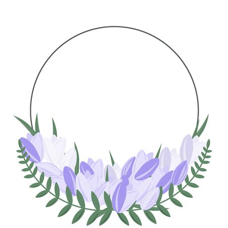 Flower round frame with purple flowers and green leaves. Elegant decorative frame for your text or design from tulips. Çizim