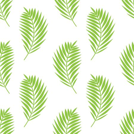 Simple elegant pattern with palm leaves. Green tropical branches on white background. Seamless vector pattern.