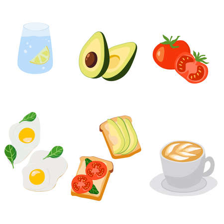 Healthy breakfast vector set of food and drinks for the morning meal. Ilustracja