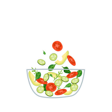 Fresh vegetable salad with green basil and arugula leaves in transparent bowl, vector illustration.