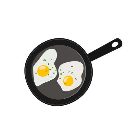 Fried eggs seasoned with green onions in pan, vector illustration.