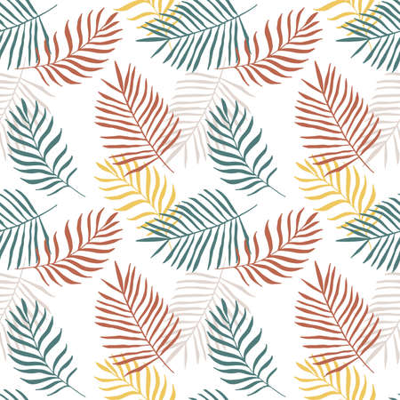 Silhouettes of palm branches in natural colors on a white background, seamless vector pattern. Illustration