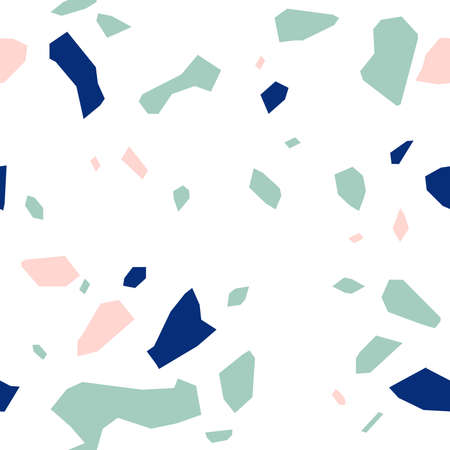 Terrazzo seamless pattern of large multi-colored fragments on a white background.