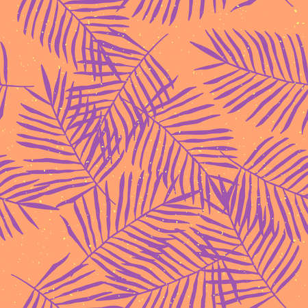 Hand-drawn tropical palm leaves seamless pattern.