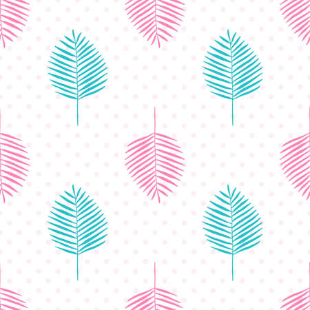 Pink and green palm branches on a background of dots, seamless vector illustration. Illustration