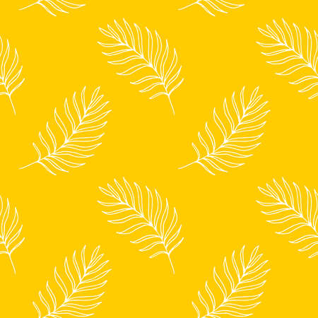 Bright yellow seamless background of white contours of palm branches. Illustration