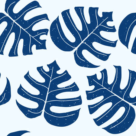 Hand drawn blue monstera leaves on a white background, seamless pattern