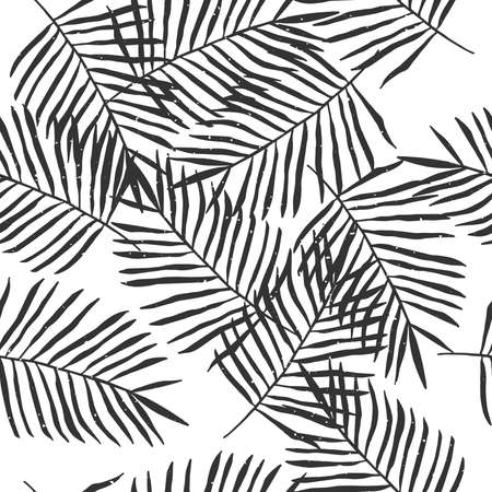 Black-white tropical palm leaves seamless pattern.