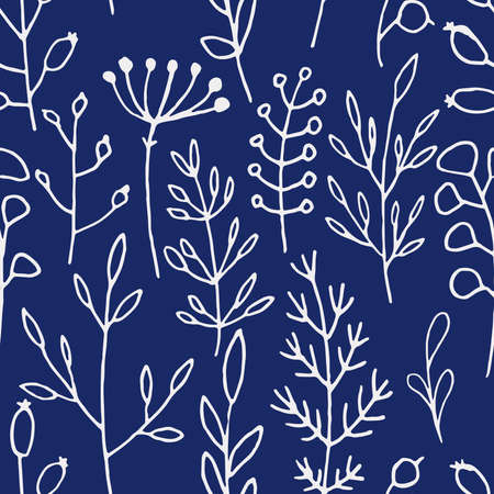 Seamless vector pattern of white contours of branches and berries on a blue background