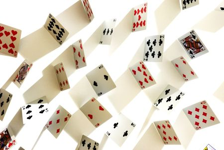poker cards from above with long shadows