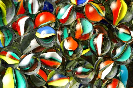 colorful glass balls from above Standard-Bild