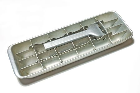 old ice tray in white background Stock Photo