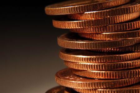 stack coins close up in dark fade background Standard-Bild