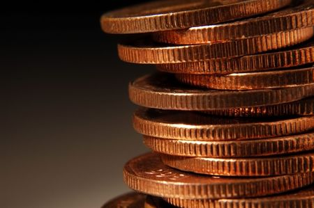 stack coins close up in dark fade background Stock Photo