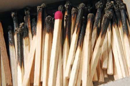 closeup view of matches with only one left Stock fotó