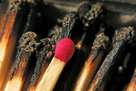 macro view of matches with only one left Stock fotó