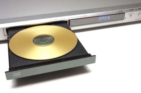 dvd player with open tray with a gold disk Stock Photo - 618258