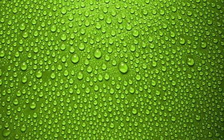green waterdrops from above Stock Photo