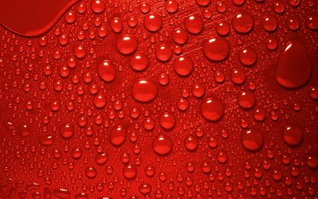 red waterdrops from above