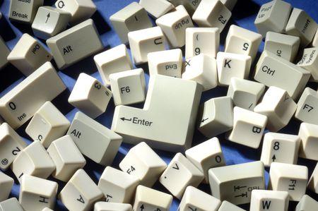 lots of scattered keyboard keys Stock Photo