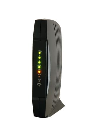 modem: cable modem with leds on