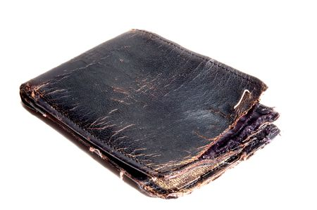 billfold: broken wallet on white background Stock Photo