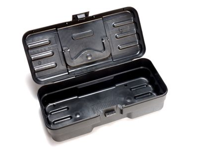 plastic toolbox opened on white background photo
