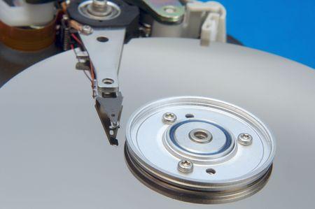internals: hard disk internals over circuit background