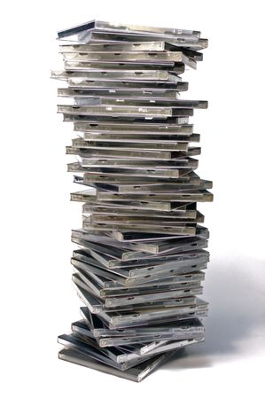 Long stack of classic CDDVD case with golden disc