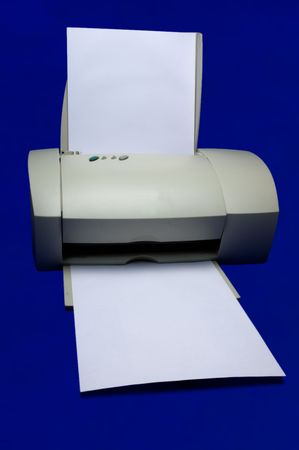 computer printer on blue background Stock Photo - 1148931