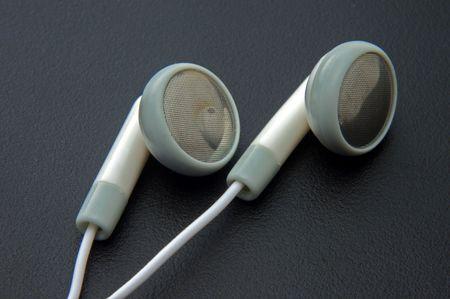 close up of headphones on dark background photo