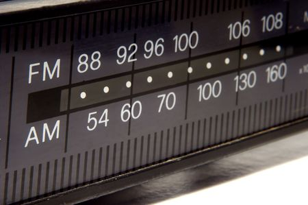closeup on old AMFM radio display