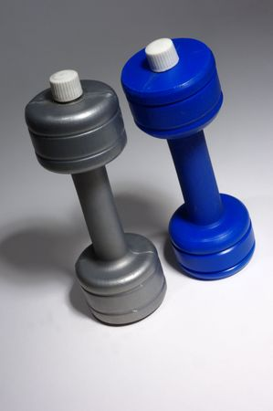 two plastic dumbbells from above Stock Photo - 1180659