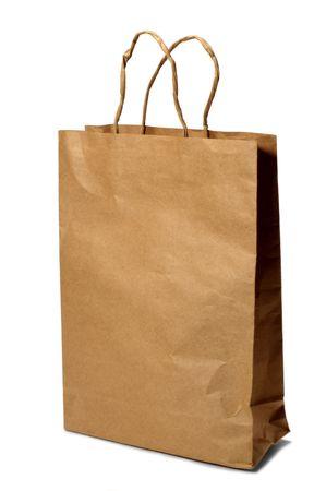 paper bag over white background