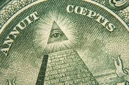seeing: macro shoot of one dollar pyramid and all seeing eye