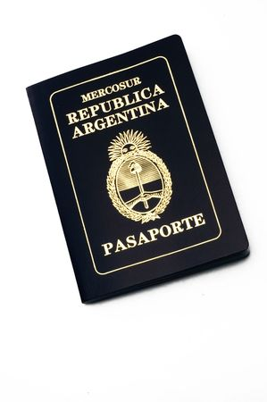 Argentine passport from above over white background
